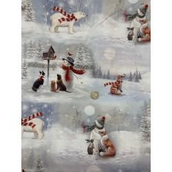 Tissu NOEL paysage de neige animaux  Quilter Treasure