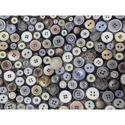 Tissu couture by Dan MORRIS bouton fond charbon