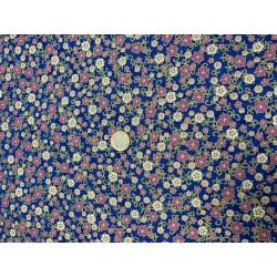Tissu Robert KAUFMAN fleurs roses et blanches sur fond bleu Florentine Garden