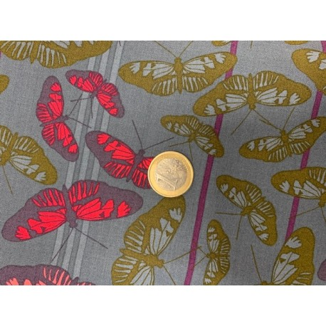 Tissu Freespirit for  Anna Maria Passion flow et papillons fond gris