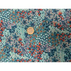 Tissu Freespirit for  Anna Maria Passion flower, esprit liberté chic bleus et saumon