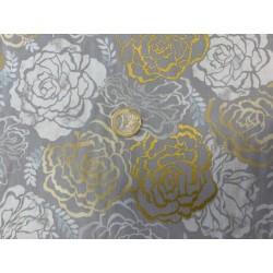 Tissu japonais kaufmann roses argent et blanc sylverstone