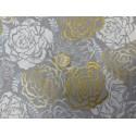 Tissu japonais kaufmann roses dorées grises et blanches sylverstone