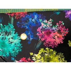 Tissu japonais Kaufman Bright Side NOIR  FLEURS