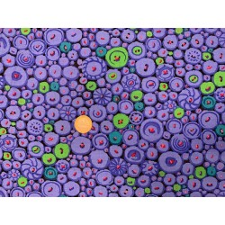 Tissu KAFFE FASSET Boutons Mosaic bleus violet