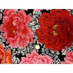 tissu Kaffe Fasset à fleurs roses ET rouge fond Noir et blanc