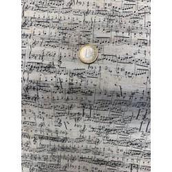 """Tissu STOFF """"My Composition"""" Stoff Musique Fond beige"""