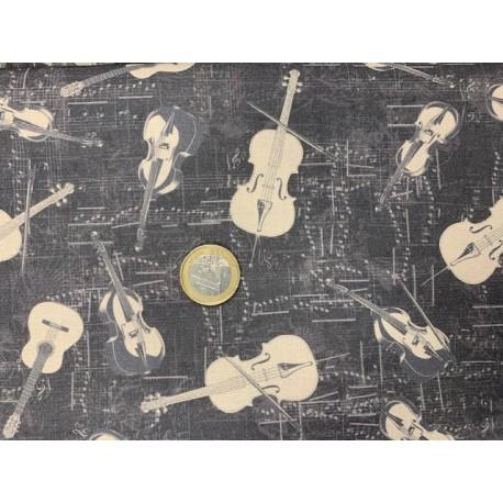 """Tissu STOFF """"My Composition"""" Stoff Instruments fond noir vintage"""