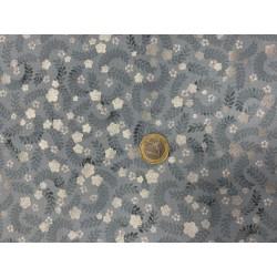 Tissu japonais kaufman Sylvertstone Petites Fleurs Gris Bleuté