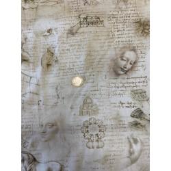 Tissu japonais kaufmann Leonard de Vinci Croquis