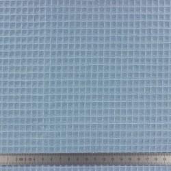 Tissu en éponge nid d'abeille coton bio Bleu