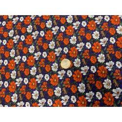 Tissu POPELINE Imprimée Vintage fleurs sur fond bleu