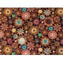 Tissu Oasis Gondwana Autralien marrons- orangés