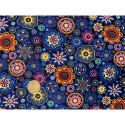 Tissu Oasis Gondwana Autralien Bleu et multicolore