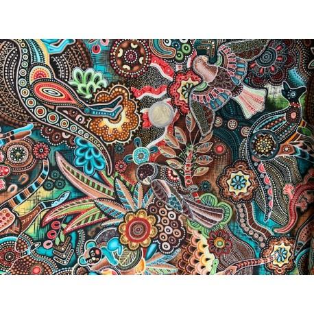 Tissu Oasis Gondwana Autralien MOTIFS traditionnels australiens