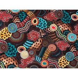 Tissu Oasis Gondwana Autralien MOTIFS Mandalas corails et vert
