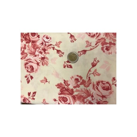 Tissu moda collection fleurs roses vintage