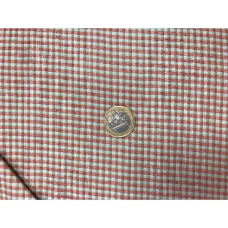 Tissu Moda motifs petits carreaux rouges et vert foncé
