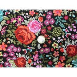 Tissus Moda collection Meraki fond marron motifs fleurs