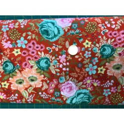Tissus Moda collection Meraki fond rouge orangé motifs fleurs