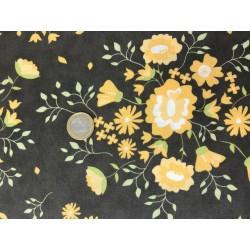 Tissu Moda Motif fleurs jaunes vintage sur fond gris foncés