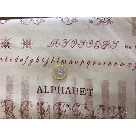 Tissu Yuwa collection Suzuco motifs alphabet couleur bordeaux