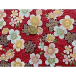 Tissu japonais kaufmann fond rouge