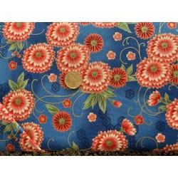 Tissu japonais kaufmann fleurs rouge fond bleu