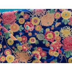 Tissu japonais multi floraison fond bleu