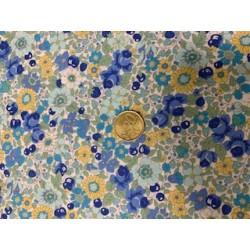 Tissu style liberty bleu blanc