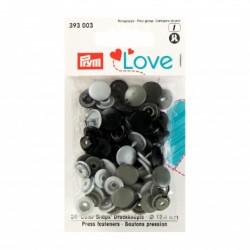 Pression plastiques12,4mm ASSORTIMENt gris noir balnc