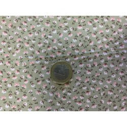 Tissu style liberty fond vert petites fleurs