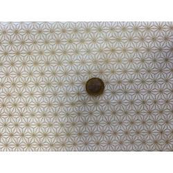 Tissu japonais coton GEOMETRIQUE BLANC/doré