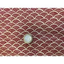 Tissu japonais coton-lin rouge evantail