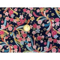 Tissu japonais multi rubans floraison fond bleu