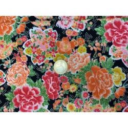Tissu japonais multi floraison fond noir