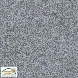 Tissu Gris Stoff gris motif feux d'artifice noir