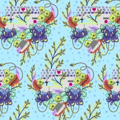 Tissu Free Spirit Tula Pink machine à coudre fleurs