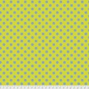 Tissu Free Spirit Tula Pink gros pois bleu sur jaune