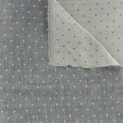 Tissu double gaze chambray à pois bleu jeans