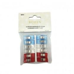 Pinces tissus bleu blanc rouge Bohin